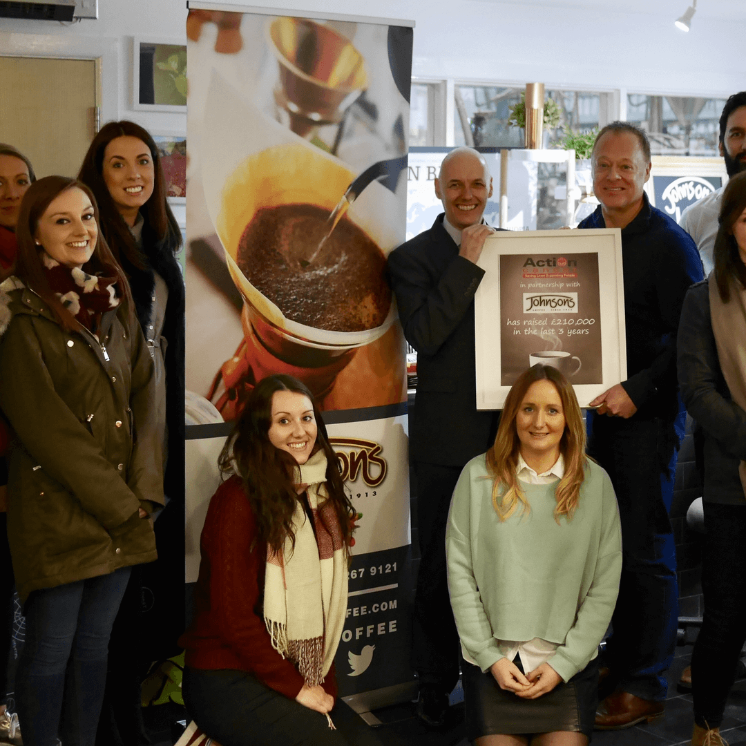 Action Cancer says 'Thank You' to Johnsons Coffee for raising over £210,000